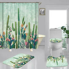 Flowering Cactus Shower Curtain Bath Mat Toilet Cover Rug Art Bathroom Decor