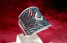 JS 925 STERLING SILVER BLUE & WHITE DIAMONDS FILIGREE WIDE BAND RING SIZE 9.25