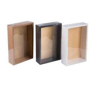 10Pcs DIY Vintage Kraft Paper Gift Box Cake Package with Clear PVC Window