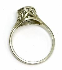 Fine Antique 18k White Gold Filigree Art Deco Engagement Setting Ring Size 7.5