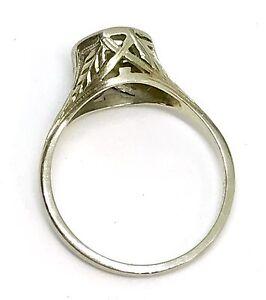 Fine Antique 18k White Gold Filigree Art Deco Engagement Setting Ring Sz 7.5