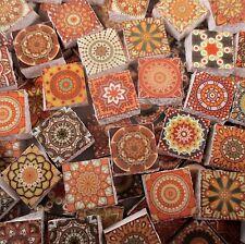 Ceramic Mosaic Tiles - Golden Amber Yellow Orange Tan Medallions Moroccan