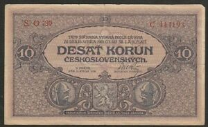 1919 CZECHOSLOVAKIA 10 KORUN NOTE