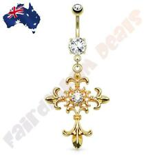 14kt Gold Plated Jewelled Belly Ring with Centre Jewelled Fleur De Lis Cross