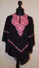 Kashmir Poncho Black with Salmon Pink - New - India - Ethnic (item xp12d)