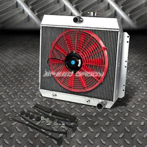 """3-ROW ALUMINUM RADIATOR+1X 16""""FAN RED FOR 49-54 CHEVY STYLELINE/FLEETLINE V8"""