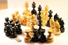 VINTAGE WOODEN CHESS PIECES + BOX