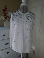 Notations ERENA 2Fer Twinset Knit Ivory/Black Beaded Two in One Top/Cadigan Sz.M