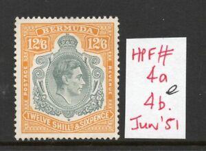 Bermuda George VI keyplate SG120e June 51 Ptg. with 4a/4b Flaw lightly hinged.