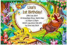 1 x THE LION KING PERSONALISED BIRTHDAY INVITATIONS INVITES + FREE MAGNETS