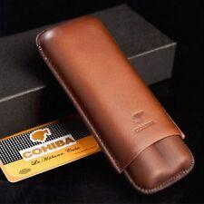 COHIBA Brown Genuine Leather 2-finger Cigar Holder/Case-Great Gift