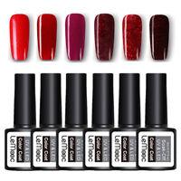 LEMOOC 6Bottles 8ml Nail UV Gel Polish Soak off Red Glitter Nail Art UV Gel Lot