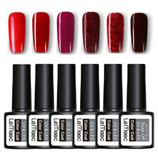 LEMOOC 6Bottles 8ml Nail UV Gel Polish Soak off Red Glitter Nail Art UV Gel Lot