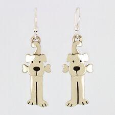 LuLu Dog with Bone Earrings Mima & Oly German Silver Pet Dangle Drop Earrings