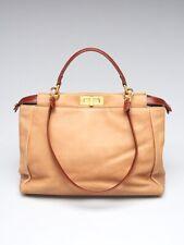 Fendi Brown Leather Large Peekaboo Satchel Bag 8BN210