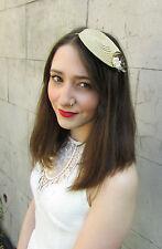 Cream Gold & Ivory Feather Fascinator Headpiece Vintage 1940s Races Headband U52