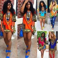 Women Summer Dress Traditional African Print Casual Straight Print Mini Dresses