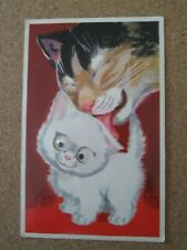 Vintage Cat Postcard. Humor. White kitten with moving eyes and Mom.
