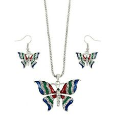 "Butterfly Necklace & Earrings Set - Sparkling Crystal - Fish Hook - 16"" Chain"