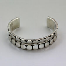 "Cuff Bracelet - Signed Vintage Mexican Sterling Silver ""Pebble"""