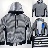 Lululemon Mens Large Full Zip Hoodie Sweater Jacket Black White Striped Heavy