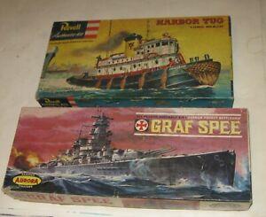 1960s AURORA GRAF SPEE GERMAN BATTLESHIP KIT + REVELL HARBOR TUG LONG BEACH KIT
