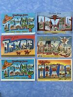 Texas Large Letter Vintage Postcards Lot Of 6 E54