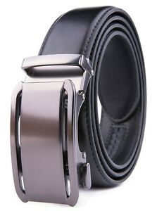 Men's Belt Leather Dress Belts for Men Ratchet Automatic Buckle Size Customized