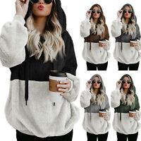 Women Warm Fleece Hooded Sweatshirt Hoodie Coat Ladies Baggy Jumper Pullover Top