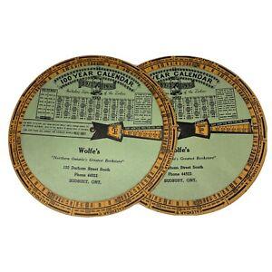 2 Very Rare Vintage 1940's 100 Year Calendar (1891-1990) Perpetual Zodiac Wheel