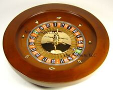 "Roulette Wheel 16"" WOOD Professional W/ Rake and Rerversable BLACK JACK LAYOUT"