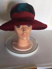 Vintage 1970's Big Floppy Faux Red Fur Hat Multi Color Feathers Boho Mr Joseph