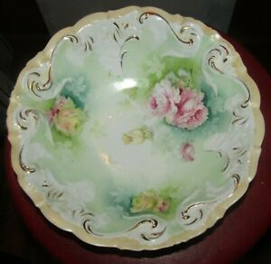 """Antique Victorian Elegant China Pink & Yellow Roses Flower Bowl 10 1/2"""" Gold Acc"""