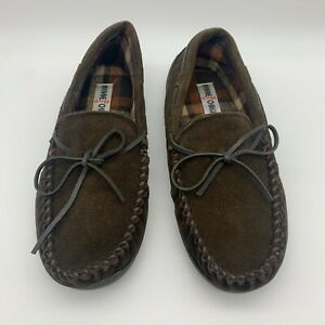 Minnetonka Mens Loafers Moccasins Plaid Lined Slippers Shoes Brown US 9 41364