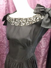 """30s 40s Black Rayon Taffeta & Heavy Lace """"Miss Kitty"""" Vict.Style Gown sz S"""