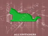 Pegatina Gato 3D Relieve - Color Verde