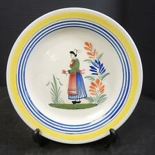 "Antique Quimper French Faience 9 3/4"" Plate * Breton Woman  #6"
