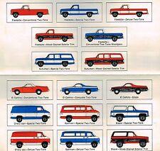 1975 Chevy TRUCK COLOR CHART Chip Paint Sample Brochure:BLAZER,PickUp,El Camino,