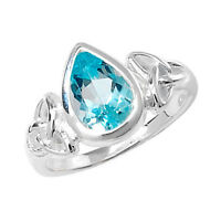 Sterling Silver Quality Blue Topaz Dress Ring LARGE SIZES
