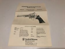Smith And Wesson .44 Magnum Model No. 629 Stainless Revolver Manual