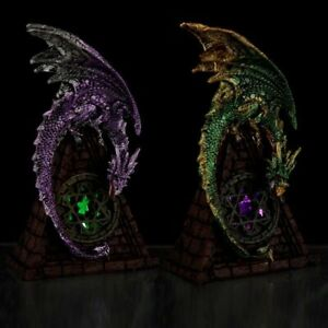 Stained Glass Window LED Dark Legends Dragon Figure Statue Ornament Fantasy Goth