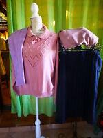 lot==== T50 -52 jupe plissée bleue marine et 3pulls roses,parmes  femme