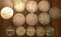LOT OF SILVER CANADA 25 CENTS AND 10 CENTS QUARTERS AND DIMES 13 COINS TOTAL