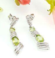 Sterling Silver & Green Peridot Drop Earrings - Shipton & Co