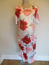 MATERNITY WHITE & RED FLORAL FITTED FORMAL PARTY DRESS SIZE L 12-14