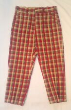 Vtg 60's Hickok Dress Pants Mens Red Plaid Thick High Waist Hippie Disco Style