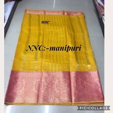 Designer Indian Saree Fabric Sari Manipuri Cotten Silk Partywear Wedding Sari