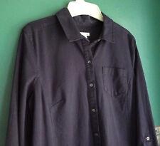 J.JILL 8 Petite Dress Stretch Cotton Chino Shirtdress Tab Sleeve Ink Blue NWT