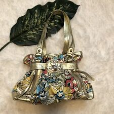 Kathy Van Zeeland Floral Purse Satchel Handbag Gold Trim Bling Logo