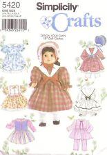 Fancy Dress Bonnet & Hat 18 inch Dolls Clothes Sewing Pattern Uncut